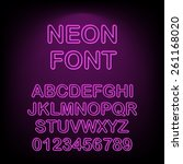 neon font. vector illustration. | Shutterstock .eps vector #261168020