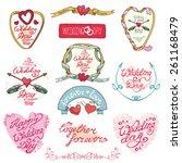 wedding day love romantic... | Shutterstock .eps vector #261168479