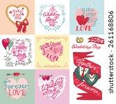 wedding day love romantic... | Shutterstock .eps vector #261168806