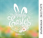 beautiful easter typographical... | Shutterstock .eps vector #261171473