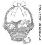 easter basket. basket with ... | Shutterstock .eps vector #261177038