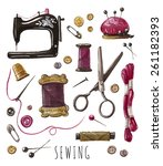 sewing work. vector hand drawn... | Shutterstock .eps vector #261182393