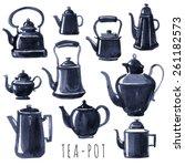 tea time. vector hand drawn set ... | Shutterstock .eps vector #261182573