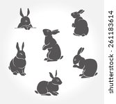 rabbit black silhouettes | Shutterstock .eps vector #261183614