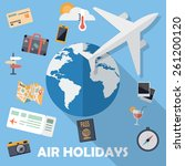 flat design icons  air holidays ... | Shutterstock .eps vector #261200120