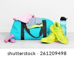 sports bag with sports... | Shutterstock . vector #261209498