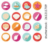 Sea Shell Flat And Summer Icons ...