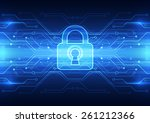 abstract technology security on ... | Shutterstock .eps vector #261212366