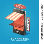 buy and sell with your... | Shutterstock .eps vector #261212480
