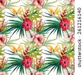 watercolor  pattern  strelitzia ... | Shutterstock . vector #261216140