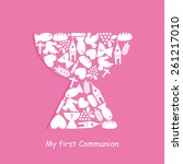 first communion invitation card  | Shutterstock .eps vector #261217010