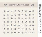 shopping line icons set black | Shutterstock .eps vector #261249104