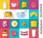 Set Of Colorful Breakfast Icon...