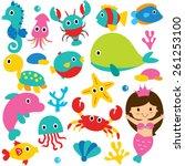 cute sea animals clip art set | Shutterstock .eps vector #261253100