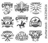 set of vintage cowboy emblems ... | Shutterstock .eps vector #261256016