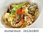 pasta with seadood and... | Shutterstock . vector #261261803