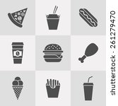 vector set of fast food icons | Shutterstock .eps vector #261279470