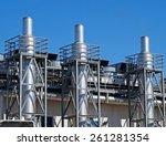 steel smoke stacks of the power ... | Shutterstock . vector #261281354