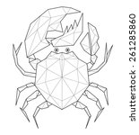 crab. low polygon linear vector ... | Shutterstock .eps vector #261285860