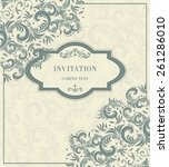vintage invitation card with... | Shutterstock .eps vector #261286010