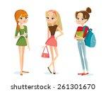 cute fashion teenage girls | Shutterstock .eps vector #261301670