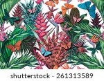 beautiful seamless floral... | Shutterstock . vector #261313589