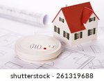 smoke detector with house and... | Shutterstock . vector #261319688