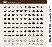 100 basic crown icons set .... | Shutterstock .eps vector #261330179