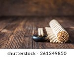mat for sushi and chopsticks on ...   Shutterstock . vector #261349850