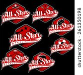 set of vintage sports all star...   Shutterstock .eps vector #261350198