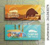 flat vector camping  banners on ... | Shutterstock .eps vector #261363074