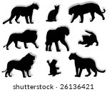 different feline silhouettes in ... | Shutterstock . vector #26136421