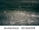 Heavy Rain Drops On Asphalt.