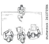 man is interviewed. sketch... | Shutterstock .eps vector #261373586