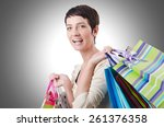 girl after the shopping spree   Shutterstock . vector #261376358