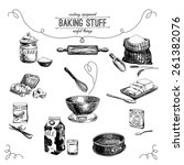 Vector Hand Drawn Set. Vintage...