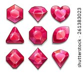 set of red crystals with...