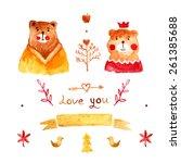 autumn watercolor design... | Shutterstock .eps vector #261385688