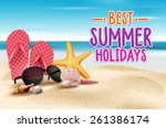 summer holidays in beach... | Shutterstock .eps vector #261386174