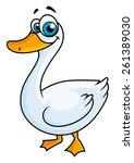 Cartoon Goose With Big Eyes An...
