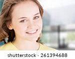 teen brunette caucasian girl... | Shutterstock . vector #261394688