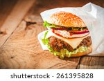 Tasty Hamburger With Fast Food...