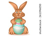 pleased chocolate bunny with...   Shutterstock .eps vector #261396050