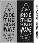 set of summer   surfing design  ... | Shutterstock .eps vector #261397844