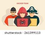 hacker team   hacker  pirate ... | Shutterstock .eps vector #261399113