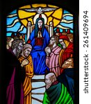 Small photo of OSTUNI, ITALY - MARCH 14, 2015: Stained glass window depicting the Descent of the Holy Spirit at Pentecost in the Church of Ostuni, Apulia, Italy.