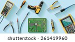 technician desk with tools | Shutterstock .eps vector #261419960