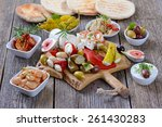 mixed greek antipasti on a... | Shutterstock . vector #261430283