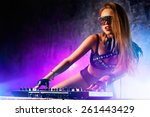 young sexy woman dj playing...   Shutterstock . vector #261443429