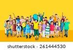 multiethnic children smiling... | Shutterstock . vector #261444530